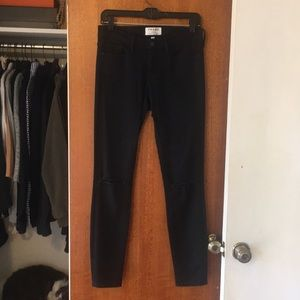 Frame black skinny jeans with knee holes